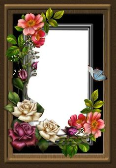 by collect-and-creat on DeviantArt Birthday Photo Frame, Birthday Frames, Art Floral, Flower Frame, Flower Art, Photo Rose, Picture Borders, Frame Border Design, Foto Frame