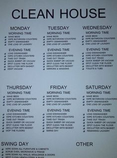 Clean House Cleaning schedule for working moms House Cleaning Checklist, Clean House Schedule, Weekly Cleaning, Household Cleaning Tips, Diy Cleaning Products, Cleaning Solutions, Cleaning Hacks, Cleaning Schedules, Cleaning Rota
