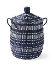 These lidded baskets give storage a beachy spin, with strips of recycled plastic wrapped around coils of neutral seagrass. Use it to stow away extra layers or laundry while keeping your style in plain view. Because each basket is crafted by hand, no two will be exactly alike, adding to its charm. Home Decor Colors, Home Decor Trends, Home Decor Styles, Black Basket, Driven By Decor, Black Decor, La Jolla, Storage Baskets, Boho Decor
