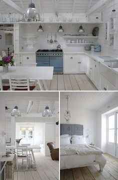 cottage chic by the style files, via Flickr -- grey color of headboard and mirror shape in bathroom (in another photo)