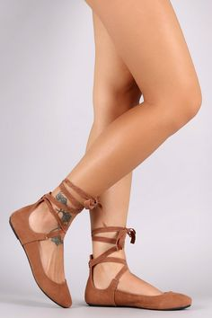 Bamboo Suede Round Toe Leg Wrap Ballet Flat