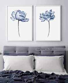 Farmhouse wall decor Dorm decor Print wall art Bedroom wall decor living room decor Blue Flower wall art set of 2 prints Above bed art Peony Blue Living Room Decor, Room Wall Decor, Living Room Art, Bedroom Wall, Bedroom Prints, Master Bedroom, Bedroom Decor, Wall Art Sets, Wall Art Prints