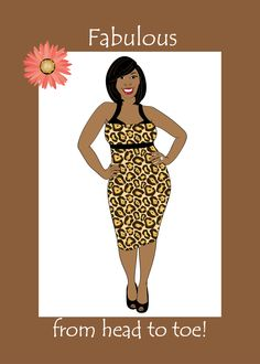 Birthday Card For Women Beautiful Curvy Black African American Woman Wearing A Leopard