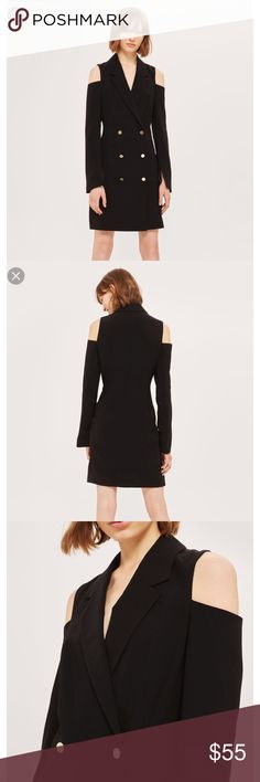 🌟N E W🌟TOPSHOP Cut Out Blazer Dress TOPSHOP Cut Out Blazer Dress •size US 4, brand new without tags •ask for measurements if unsure of fit •front buttons, cut out shoulder, gold buttons  🌸Check out my other TOPSHOP jeans/items🌸 Topshop Dresses