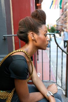 Updo natural hair black woman women African american color twist