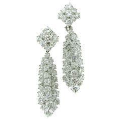 VAN CLEEF & ARPELS Day/Night Platinum Diamond Earrings