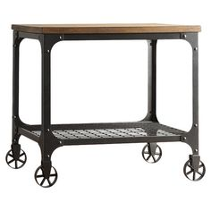 An industrial-chic addition to your living room or den, this distinctive end table features a poplar wood table top, metal frame and mesh display shelf. Metal Grid, Wood And Metal, Industrial Chic, Industrial Furniture, Furniture Decor, Apartment Furniture, Rustic Furniture, Garden Furniture, Apartment Ideas