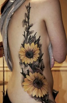 Sunflower Leg Tattoo | Sunflower tattoos for women
