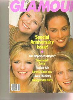 Christie Brinkley, Beverly Johnson, Cheryl Tiegs, and Kim Alexis - Glamour April 1989