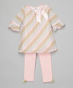 Pink Metallic Stripe Dress & Leggings - Infant & Kids by Gerson & Gerson #zulily #zulilyfinds