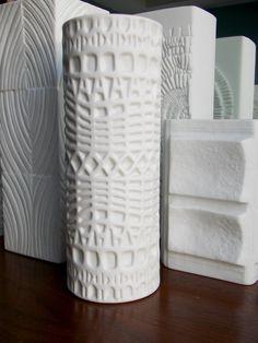 Thomas Vase White OP Art Relief Matte Porcelain ,MidCenturyFLA,