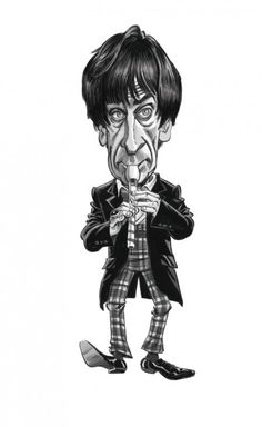 A close-up from the limited edition print of 2, Patrick Troughton by Tom Richmond of Mad magazine.