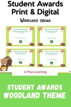Fun Awards, Certificate Of Achievement, Student Awards, Woodland Theme, My Teacher, Work Hard, Learning, Digital, Creative
