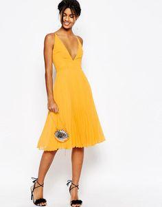 ASOS | ASOS Deep Plunge Pleated Cami Midi Dress at ASOS