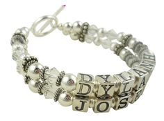 Beautiful crystal Mother's bracelet or Grandma Bracelet with sterling silver personalized names for Mom, Mother, Grandma