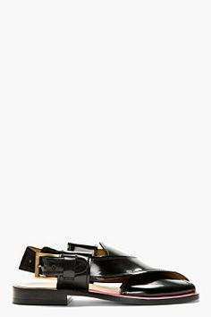 PAUL SMITH  Black Leather Neon Accent Sandals