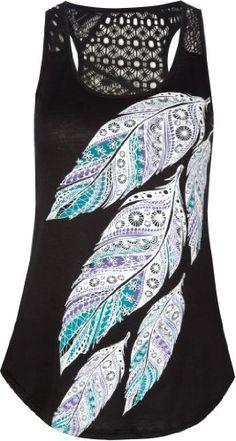 Amazon.com: FULL TILT Crochet Back Feathers Womens Tank: Clothing