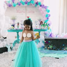 first birthday party ideas boys Mermaid Birthday Outfit, Little Mermaid Birthday, Little Mermaid Parties, Girl Birthday, Mermaid Party Decorations, Birthday Party Decorations, 4th Birthday Parties, Mermaid Baby Showers, Princess Party
