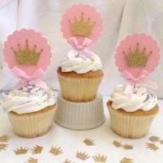 Rosa y oro Princess Cupcake Toppers por CraftySistersPlus1 en Etsy