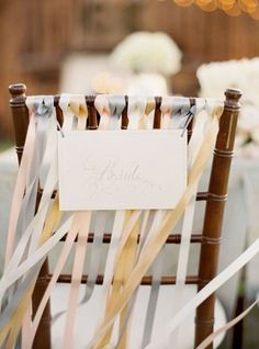 REVEL: Chair Ribbons for a beach wedding this would be nice with the breeze from the ocean