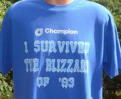 90s vintage t-shirt I survived BLIZZARD '93 snow by skippyhaha
