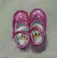 "Daily Paintworks - ""Princess Shoes"" - Original Fine Art for Sale - © Carol Josefiak"