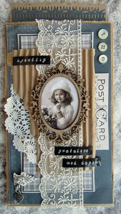 This would make a cute mini scrapbook cover layout Album Vintage, Vintage Scrapbook, Vintage Tags, Vintage Birds, Scrapbook Cover, Heritage Scrapbook Pages, Karten Diy, Shabby Chic Cards, Fabric Journals