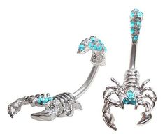 Scorpion Gem Belly Button Ring Bar Naval Navel 14g 3//8 blue pink clear eyes