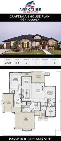 This stunning Craftsman home offers 2422 sq. bedrooms bathrooms a vaulted great room an exercise room and an open floor plan. House Plans One Story, Best House Plans, Dream House Plans, Modern House Plans, House Floor Plans, New Home Plans, Floor Plans 2 Story, 1 Story House, Open Floor House Plans