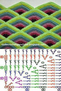 Pyramid Crochet Afghan Pattern Free - Her Crochet Crochet Squares, Point Granny Au Crochet, Crochet Square Patterns, Crochet Motifs, Crochet Quilt, Crochet Diagram, Crochet Stitches Patterns, Tunisian Crochet, Crochet Chart