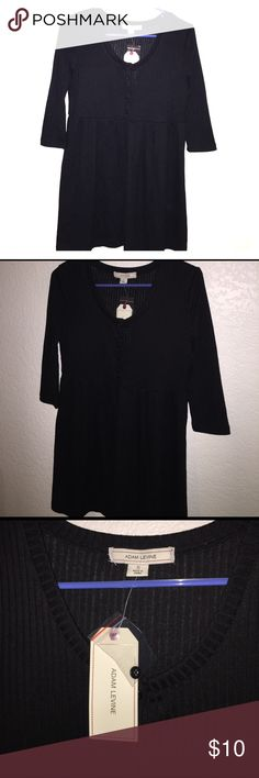Black ribbed tunic NWT Adam Levine black ribbed baby doll style tunic. Half sleeves. Very soft! Buttons run from chest to waist. Adam Levine  Tops Tunics