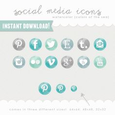 social media icons  watercolor buttons  colors of by DinosaurStew, $6.00