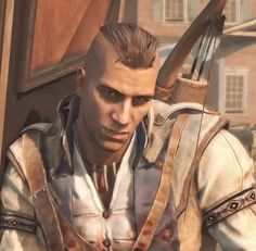 "Connor Kenway with a Mohawk... My exact reaction ""NO! WHY ARE YOU CUTTING OFF YOUR BEAUTIFUL HAIR?!?!!!! WHY?!"""