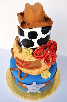 cowboy-cake... Addie's love for Toy Story might inspire a birthday party theme after seeing this cake!!!