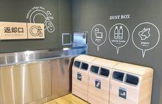 鹿児島大学 新しい店舗と食堂2016|全国大学生活協同組合連合会(全国大学生協連) Box Design, Sign Design, Flat Design, Recycling Center, Recycling Bins, Sign System, Ikea Inspiration, Foyer Design, Information Design