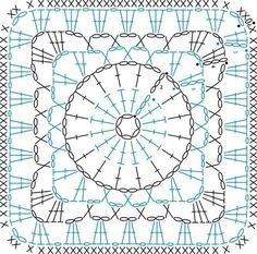 Crochet square motif chart diagram pattern