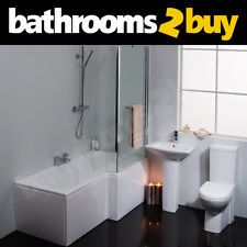Plaza Right Hand L-Shaped Square Shower Bath Suite - £360 + taps/waste + delivery
