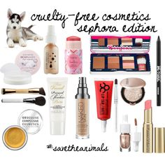 """""""{Cruelty-Free Makeup} {Sephora Edition}"""" by voyageofcate on Polyvore. Some great choices here, and a lot of new stuff that has come out since then! :) Note this is not comprehensive :)"""