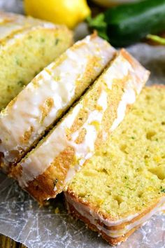 This Lemon Zucchini Bread combines two favorites in one delicious loaf of bread! Topped with a sweet lemony glaze, it's a great way to sneak in extra veggies and the BEST way to wake up! Lemon Zucchini Loaf, Chocolate Zucchini Bread, Lemon Bread, Zucchini Bread Recipes, Loaf Recipes, Bread Machine Recipes, Lemon Recipes, Cooking Recipes, Lemon Loaf
