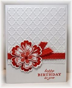 handmade bithday card .. red and white ... gorgeous layer flower ... pretty layout ...