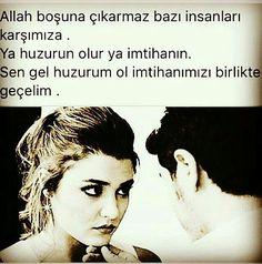 Sen en güzel imtihanımsın benim, Huzur bulduğumsun.. Turkey Poem, Maybe Tomorrow, Poems, Writer, Romantic, Love, Sayings, Quotes, Movie Posters