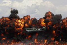 WWII Plane Flies Past a Wall of Flames in Wisconsin #sharkplane #fire