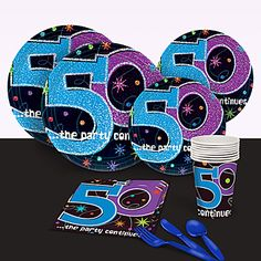 The Party Continues at 50 Basic Party Pack includes tableware for eight and decorations. You'll save big with The Party Continues at 50 party pack!