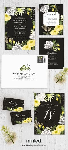 Celebrate your spring time romance with Griffinbell Paper Co's gorgeous bright floral infused gold foil wedding invitation, Bolero.