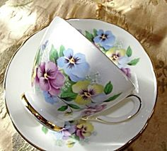 Charming Pansy Flowers Teacup And Saucer Delphine China