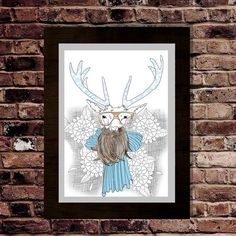 Stag with tattooed antlers art print Stag with a by pilotlight, £13.00 #stag #etsy #tattoo #illustration #flowers #deer #beard #coffee #scarf #suit