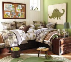 6.green-madras-quilted-bedding-for-unisex-shared-bedroom-dinosaurus-themed