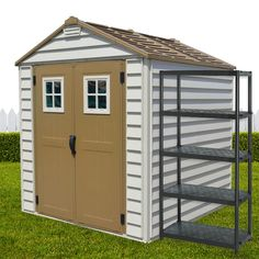 Meeting the.StoreMax Garden Shed with Foundation Kit & Window. x x Made from Durable Resin Super attractive & easy to DIY Great storage solution for the backyard Vinyl Sheds, Plastic Sheds, Things To Buy, Storage Solutions, Diys, Foundation, Backyard, Outdoor Structures, Windows
