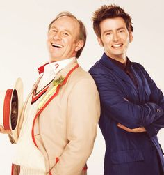 The Doctor and The Doctor.   5th Doctor and 10th Doctor.  Peter Davison and David Tennant.   Father-in-law and Son-in-law.  Boy and his childhood idol.