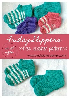 Friday Slippers for Adults free crochet pattern from Blackstone Designs   #freecrochetpattern #crochet #slippers #crochetslippers #slippersforadults #slippersforwomen #Slippersformen #FridaySlippers #quickandeasycrochet #quickslippers